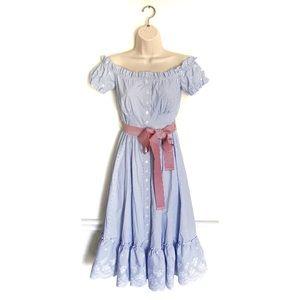 sportalm kitzbühel blue striped high low dress